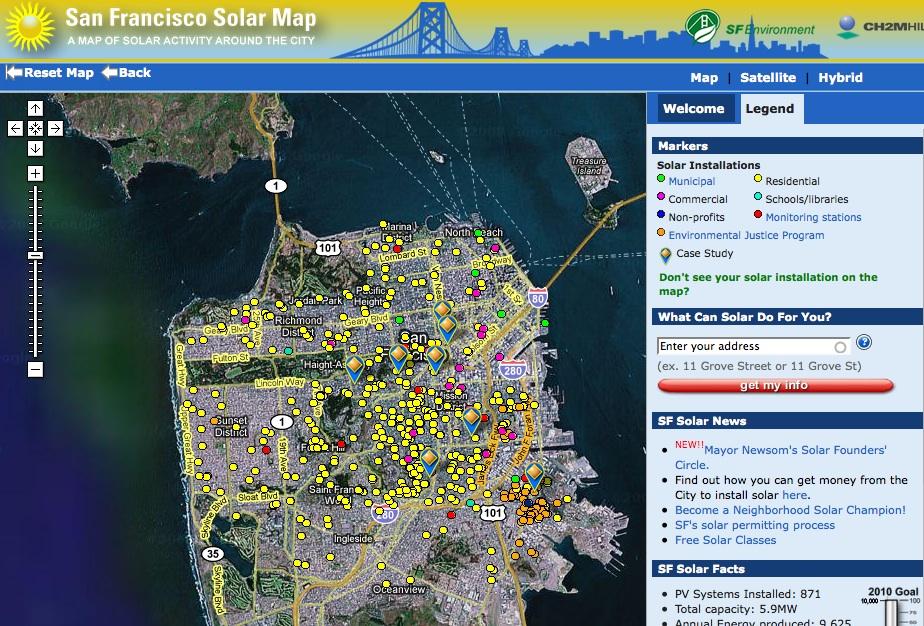 Live San Francisco Solar Map