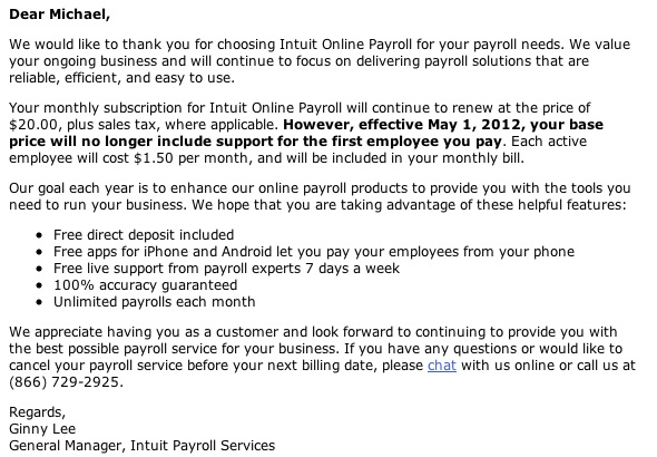 Letter from Intuit Payroll Services announcing a price incease of 7.5%.