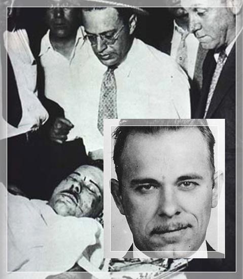 Example of celebrating violence, death photo of criminal John Dillinger