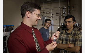 George Huber and graduate students examine bio-gasoline