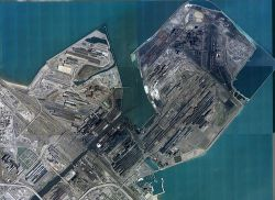 Aerial view of ArcelorMittal steel mill in East Chicago, Indiana