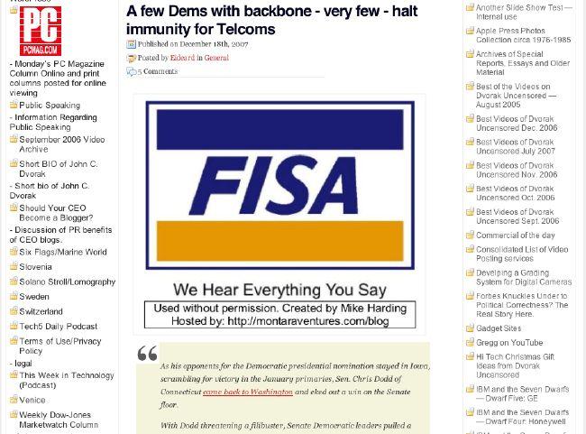 Screen shot of Dvorak blog theft