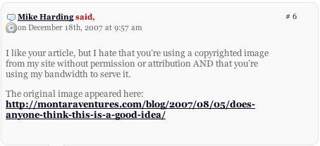 Comment to Dvorak on image theft