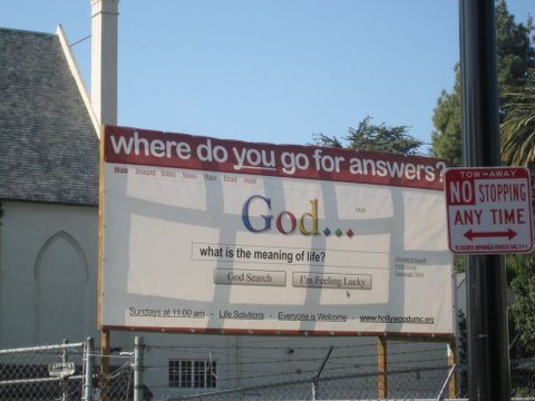 Church using the Google interface to attract the faithful