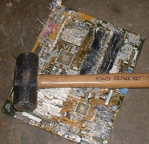 Photo of a computer that was the victim of percussive maintenance.