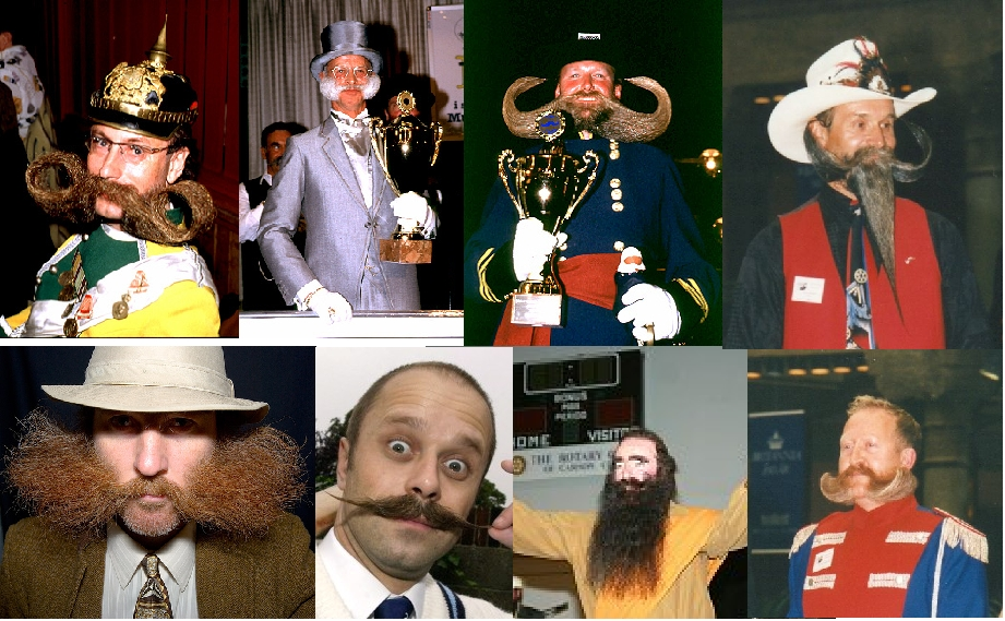 Collage of spectacular beards and moustaches